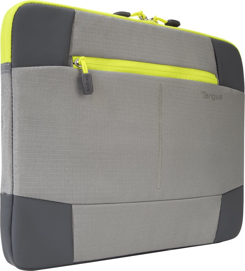 Targus Bex II Protective Sleeve, Durable Weather-Resistant with Front Cargo Pocket for Charger Cables, Padded Slipcase for 14-Inch Laptop, Gray/ Spring Yellow (TSS878)