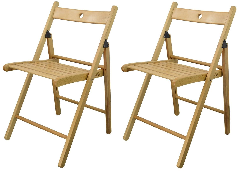 Harbour Housewares Silla plegable de madera - madera de color natural - 2 sillas