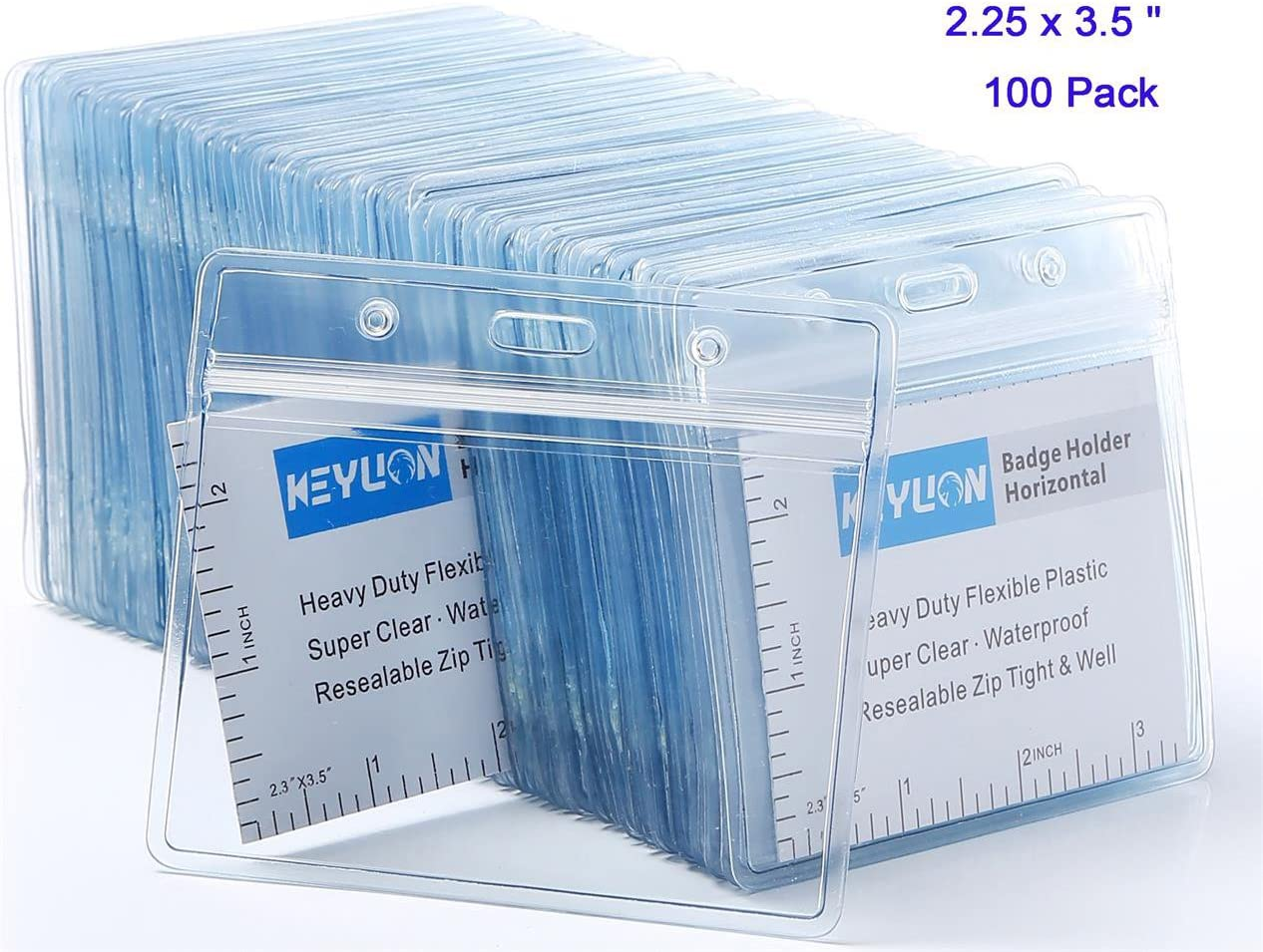 """KEYLION 100 Pack Horizontal Name Tag Name Badge ID Card Holders, Heavy Duty Clear Plastic ID Sleeve Pouch with Waterproof Type Resealable Zip, fit 2-1/4"""" x 3-1/2"""" Name Badge Insert Refill"""