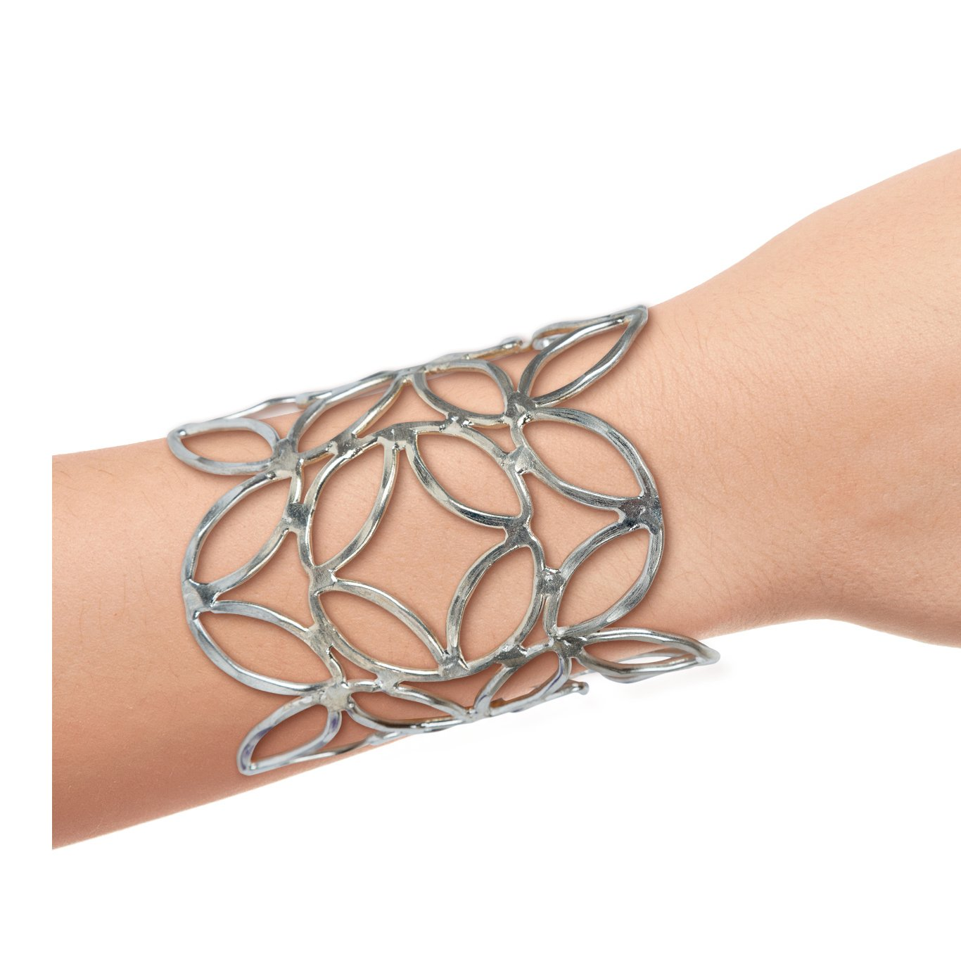SPUNKYsoul New! Cuff Metal Flower Bracelet for Women Collection (Silver)