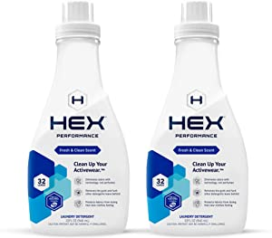 HEX Performance Laundry Detergent, Fresh & Clean, 32 Load (Pack of 2) - Designed for Activewear, Eco-Friendly