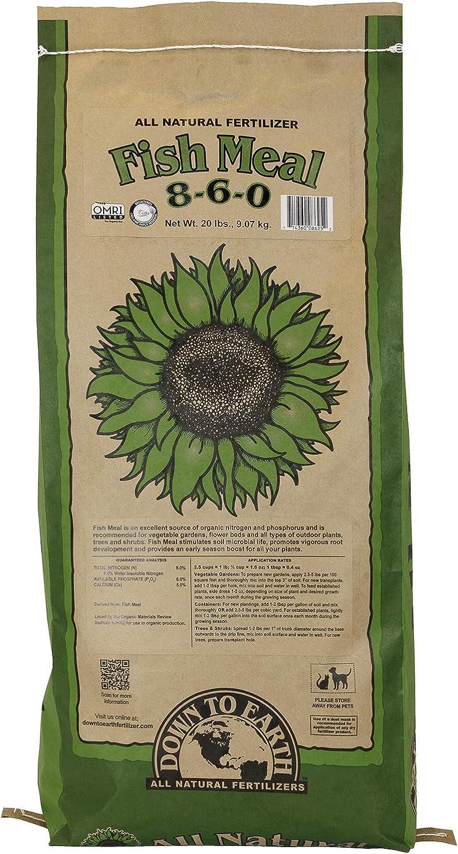 Down to Earth Organic Fish Meal Fertilizer 8-6-0, 20 lb