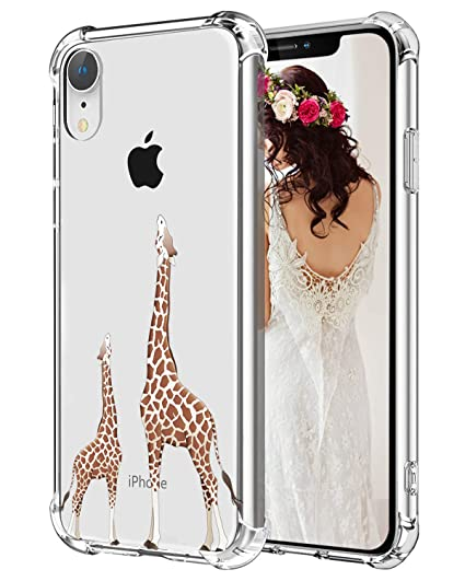 Giraffe iPhone XR Case Hepix Cute Lovely Animals Slim Protective Cover  Cases TPU Frame Anti,Scratch Shock Absorbing Case with Reinforced Bumper  for