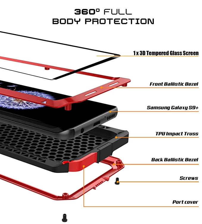 Amazon com: Galaxy S9 Plus Case, Armor Tank Aluminum Metal