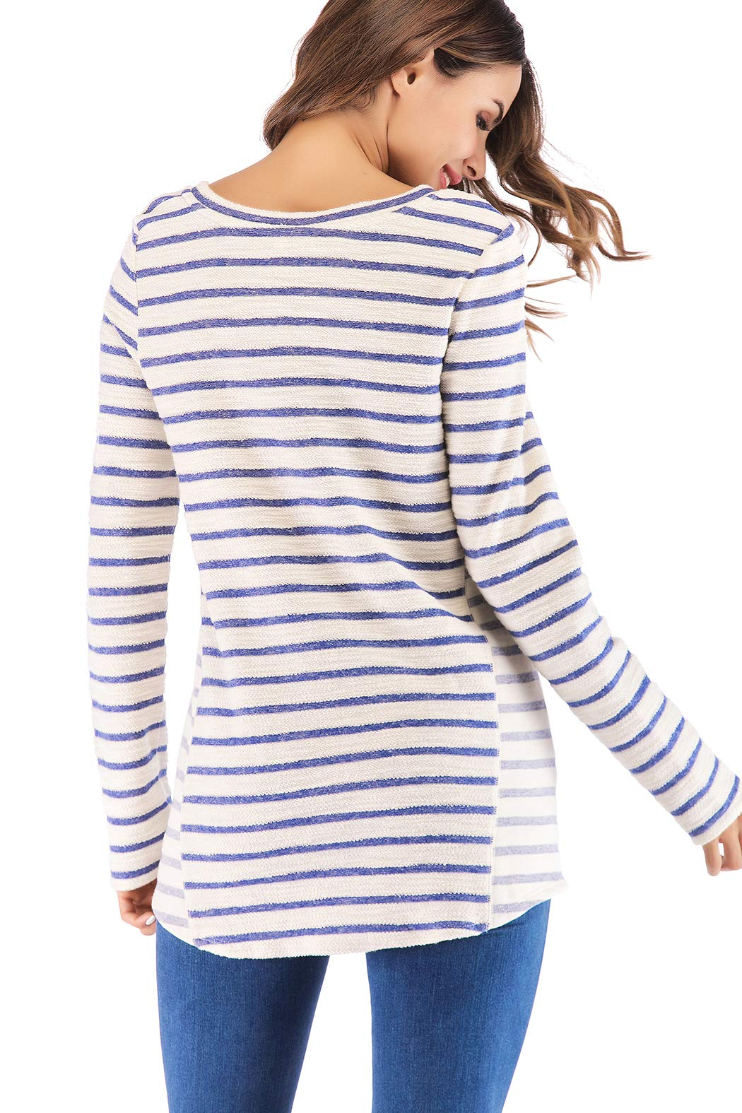 Eanklosco Long Sleeve Striped Shirt Women Casual Gray/Blue White Stripe T-Shirt Loose Round Neck Tunic Tops (Blue+White, S)