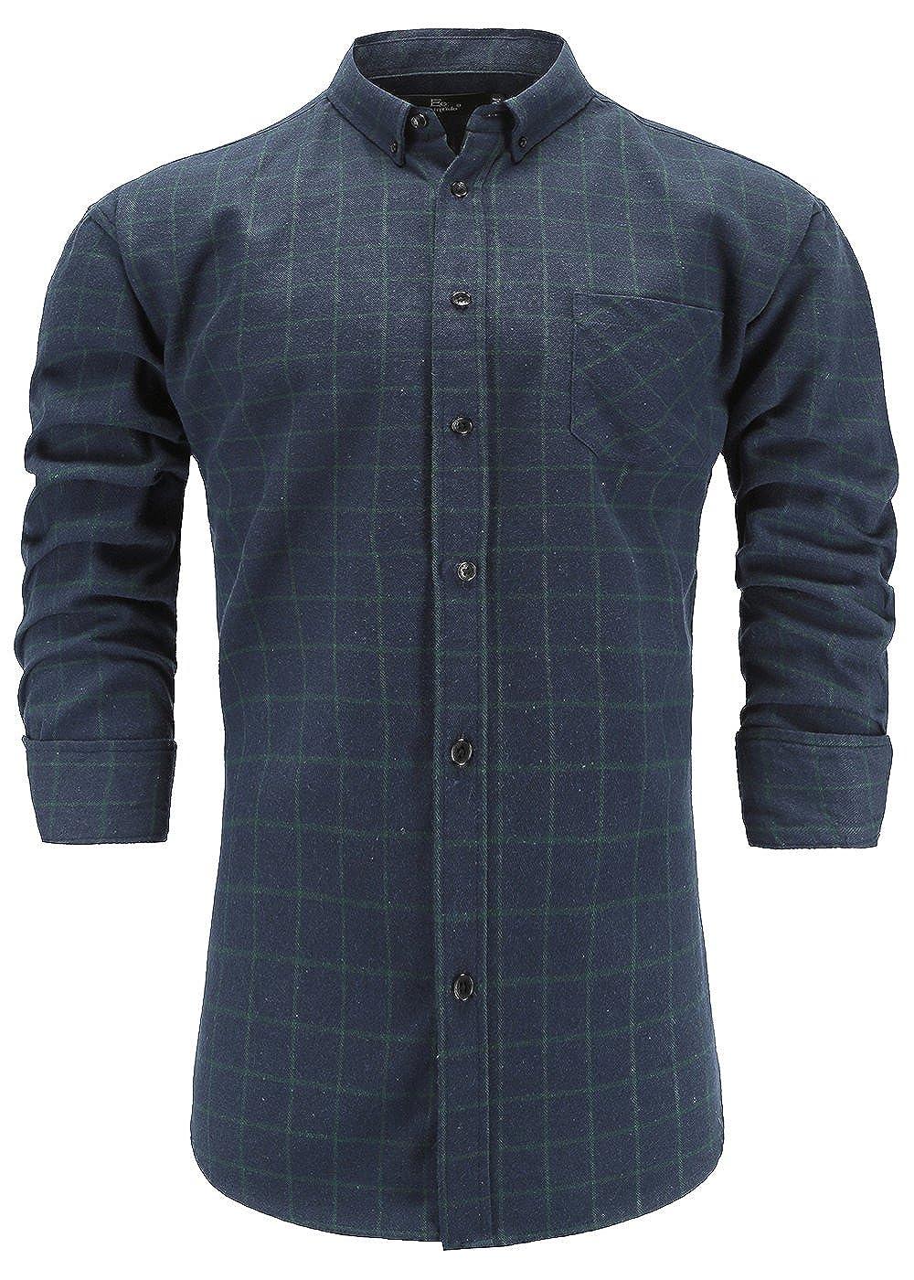 Emiqude Men's Slim Fit Long Sleeve Flannel Cotton Stylish Plaid Button-Down Dress Shirt