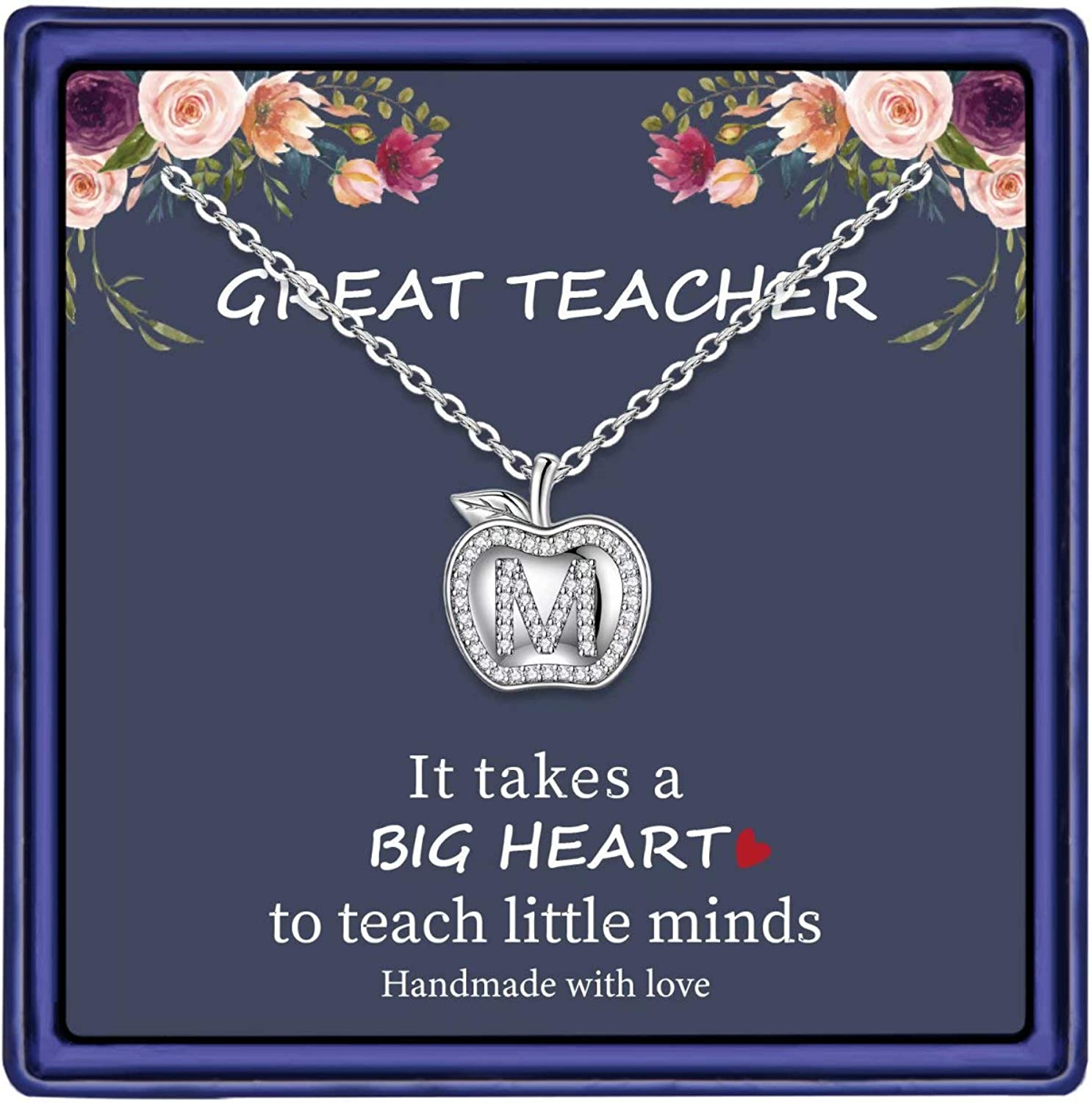 MONOOC Teacher Gifts for Women Necklace, 14K White Gold Plated Dainty Apple Necklace for Teacher Best Teacher Necklace Jewelry Thanksgiving Teacher Apprecaition Gifts from Student