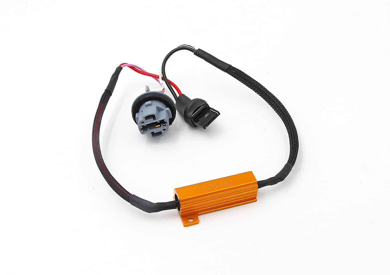 Alla Lighting 7440 7441 T20 50W 6Ohm Error Free LED Lights Load Resistor Adapter Fix Flashing Fast Blinking Canbus Bypass Wiring Harness for Upgrading LED Turn Signal Blinker Light Lamps