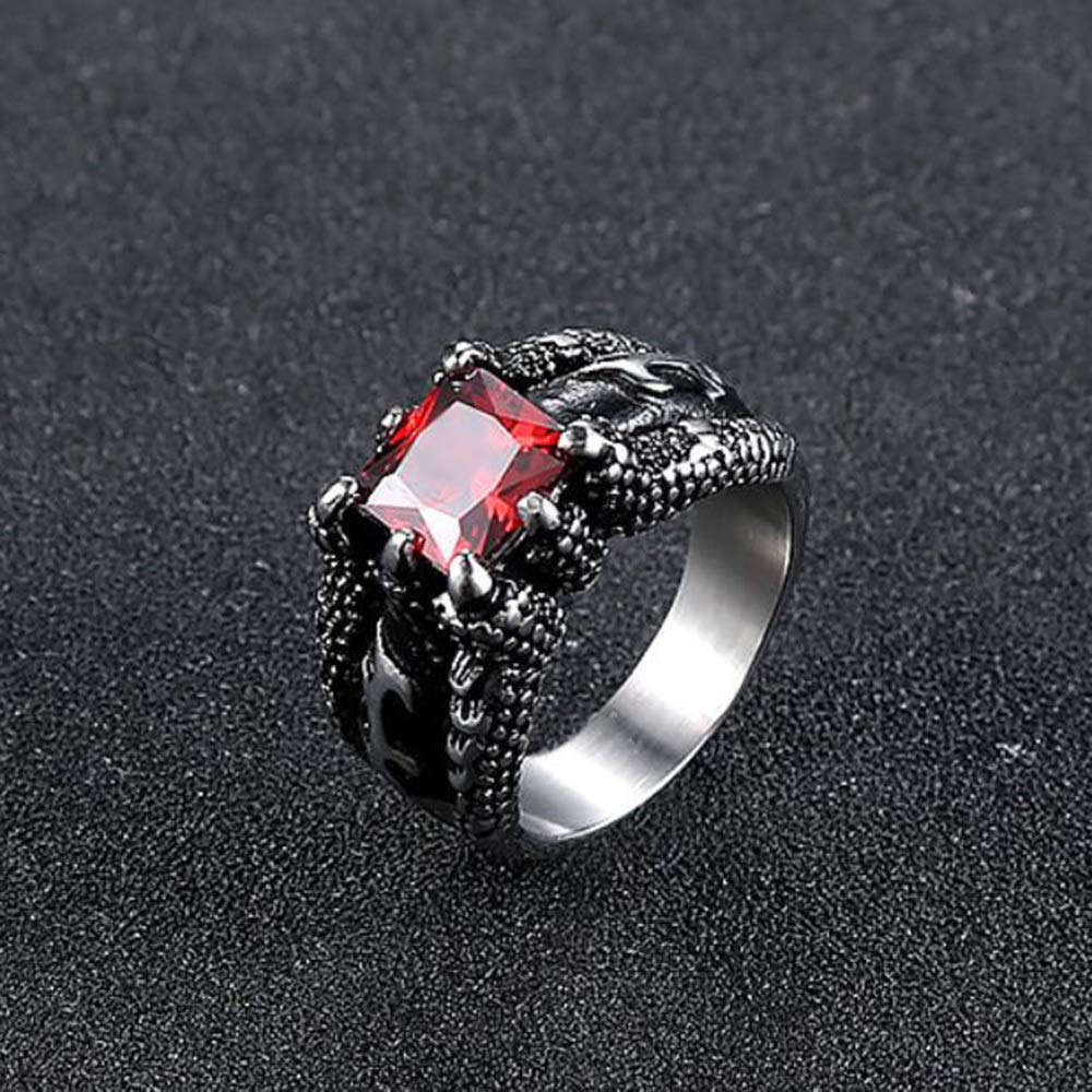 Dixinla Rings Steel , European and American Men's Style Retro Domineering Fashion Claws Red Diamond Titanium Steel Ring Jewelry Gift for Family or Friends by Dixinla