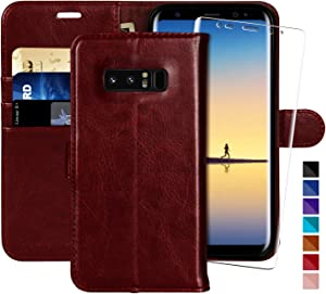 MONASAY Galaxy Note 8 Wallet Case, 6.3 inch [Included Screen Protector] Flip Folio Leather Cell Phone Cover with Credit Card Holder for Samsung Galaxy Note 8 (Burgundy1)