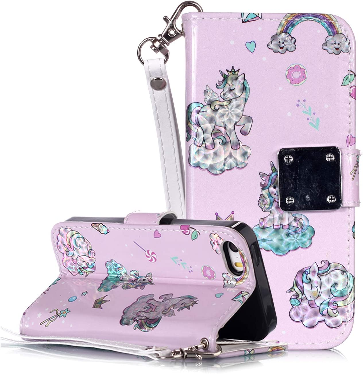 for iPhone 6 Plus 5.5 Case Cute Cat SevenPanda Leather Glitter Case iPhone 6 Plus PU Leather Book Style Stand Case Folio Flip Wallet Case for iPhone 6S Plus iPhone 6S Plus Protective Cases
