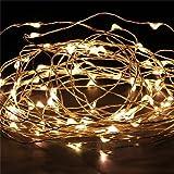 JinTo Guirlandes Lumineuse Étanche Cuivre Fil 3m 30-LEDs Chaine de lampes - Blanche chaude