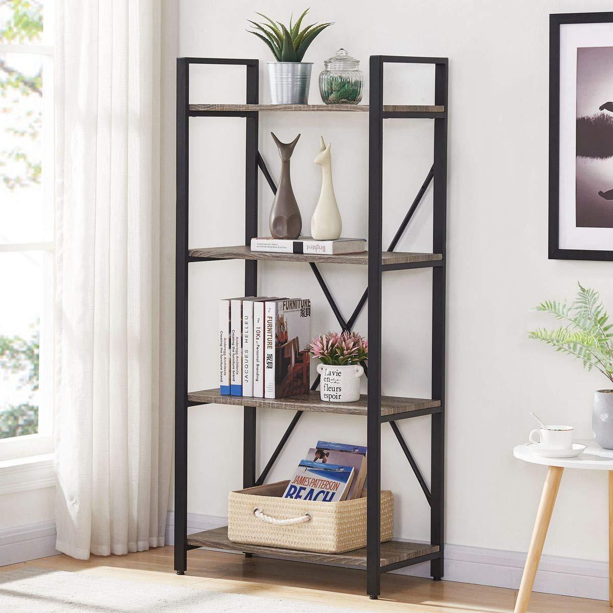 BON AUGURE 4-Shelf Open Narrow Bookcase, Vintage Industrial Bookshelf, Multipurpose Storage Shelves, Dark Oak