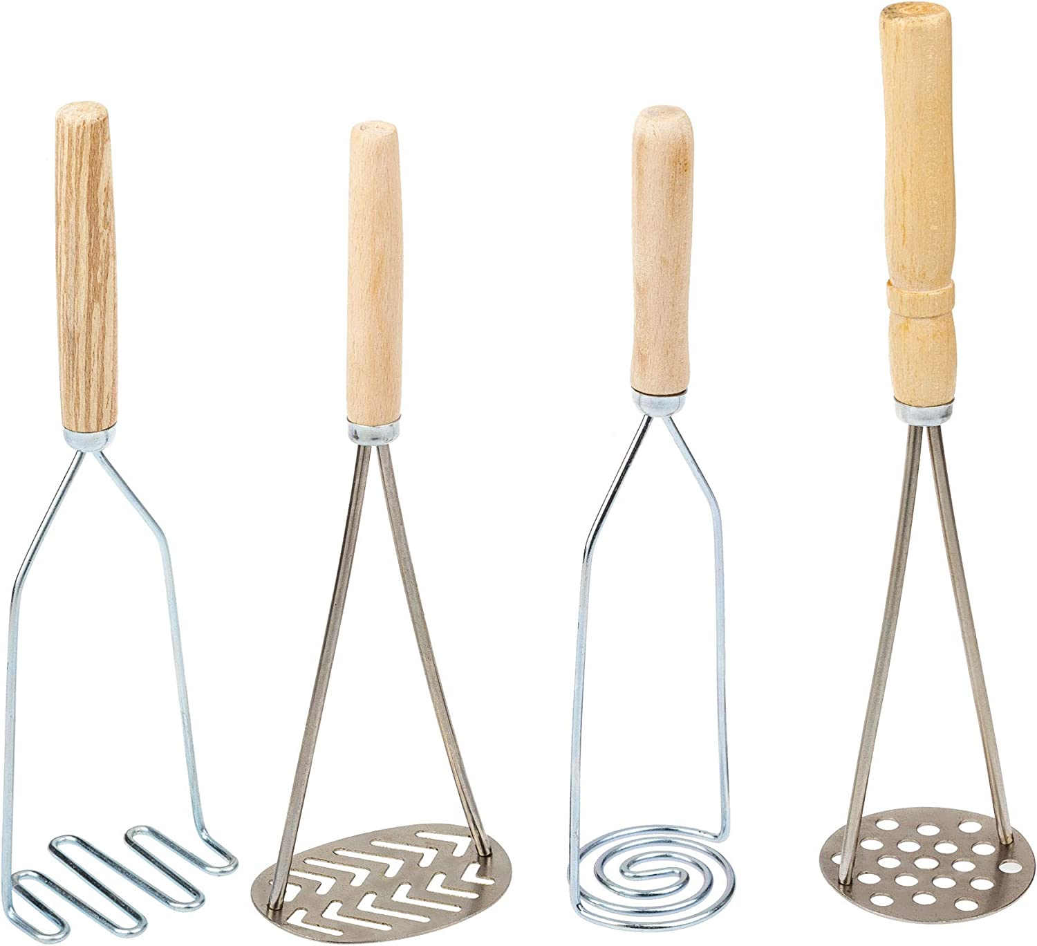 Manual Stainless Steel Cooking Potatoes Masher - Pack of 4 - Kitchen Potato Food Masher with Handle Bean Smasher