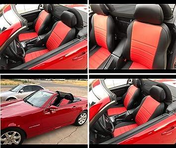 Topcar Athens Zwei Autositzbezüge Aus Kunstleder Mit Synthetik Rückseite Oberfläche 100 Passgenau Sitzbezügesets Farben Rot Schwarz Und Schwarz Auto