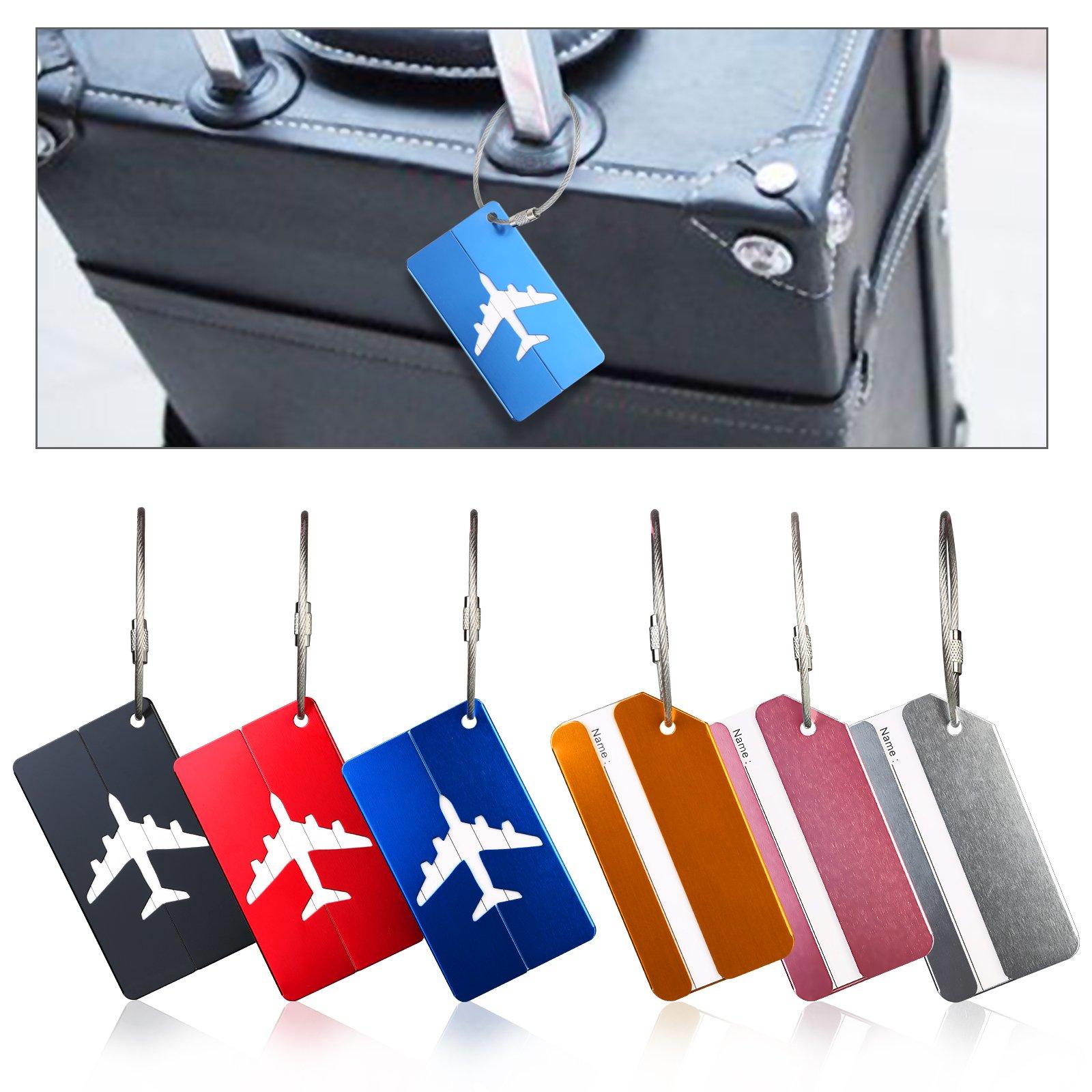 6er Metal Kofferanhänger,ZOOMSKY Aluminium Streifen/Flugzeug Motiv Gepäck Handtasche Tag Koffer Tasche Etiketten Name Adresse Schilder für Reise Bussiness Travel
