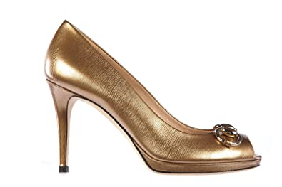 64dbf58d73649 Gucci Women's Leather Open Toe Pumps Court Shoes Heel Gold UK Size 7 ...