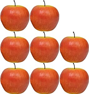 """Set of 8 Decorative Life Size Faux Apples - Great for Decorating your Home, Creating a Store Display, and Photo Props - Realistically Colored and Sized Fruit - Measures 2.5"""" x 2.75 (Light Red Apples)"""