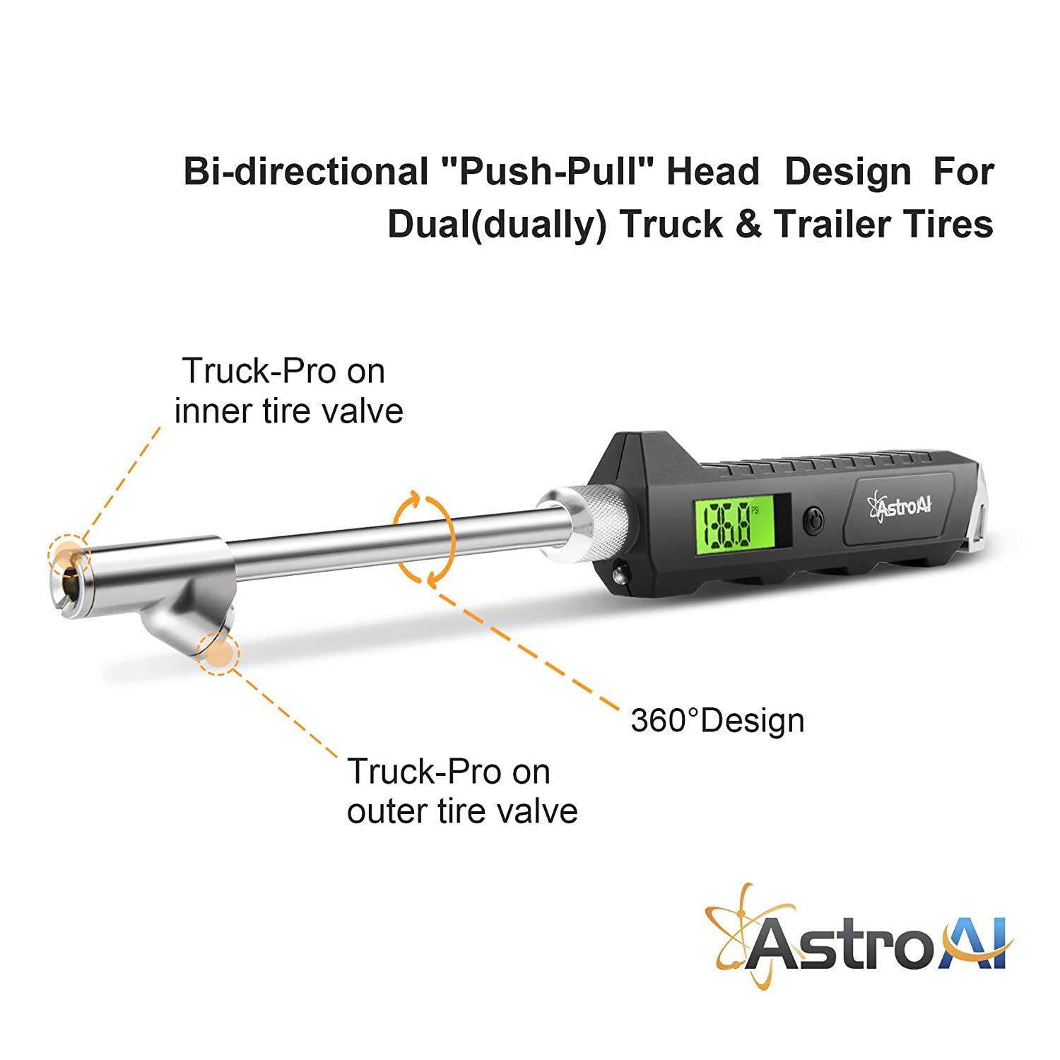 AstroAI ATG230 Digital Tire Pressure Gauge 230 PSI RV Heavy Duty Dual Head Stainless Steel Made for Truck Car with Larger Backlit LCD and Flashlight