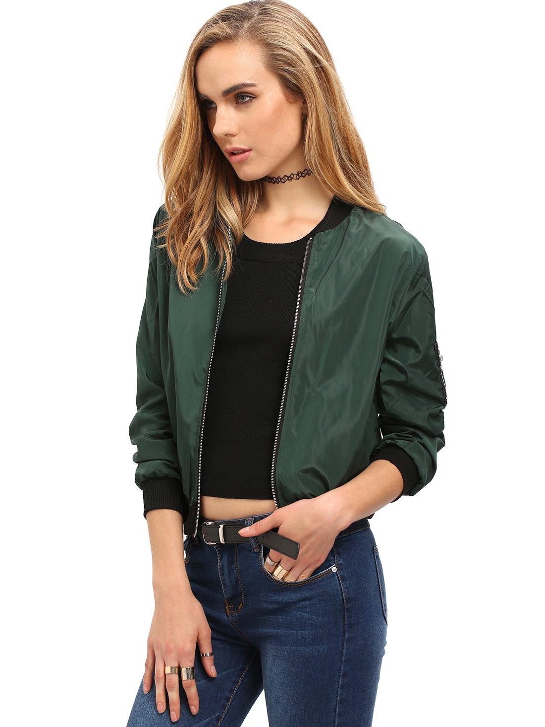 Romwe Women's Classic Zipper Short Bomber Jacket Coat Green L