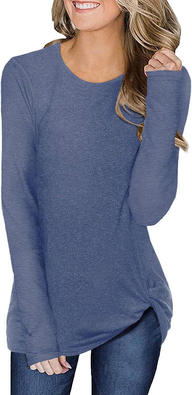 Amoretu Damen Langarm Shirt Tunika Bluse Asymmetrisch Pullover Oberteile Top