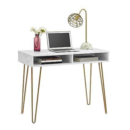 Novogratz 9618891COM Computer Desk With Storage, White Marble
