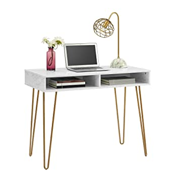 Miraculous Amazon Com Novogratz Athena Computer Desk With Storage Home Interior And Landscaping Dextoversignezvosmurscom