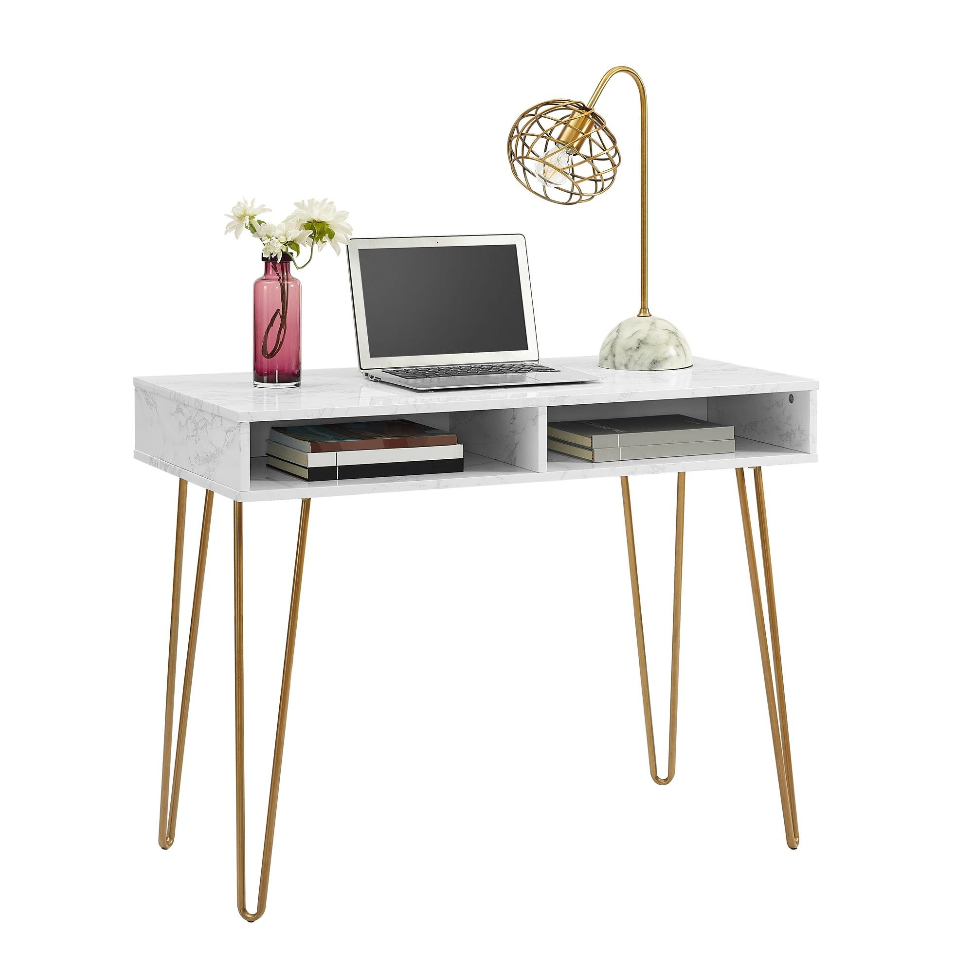 Novogratz Athena Computer Desk with Storage, White Marble
