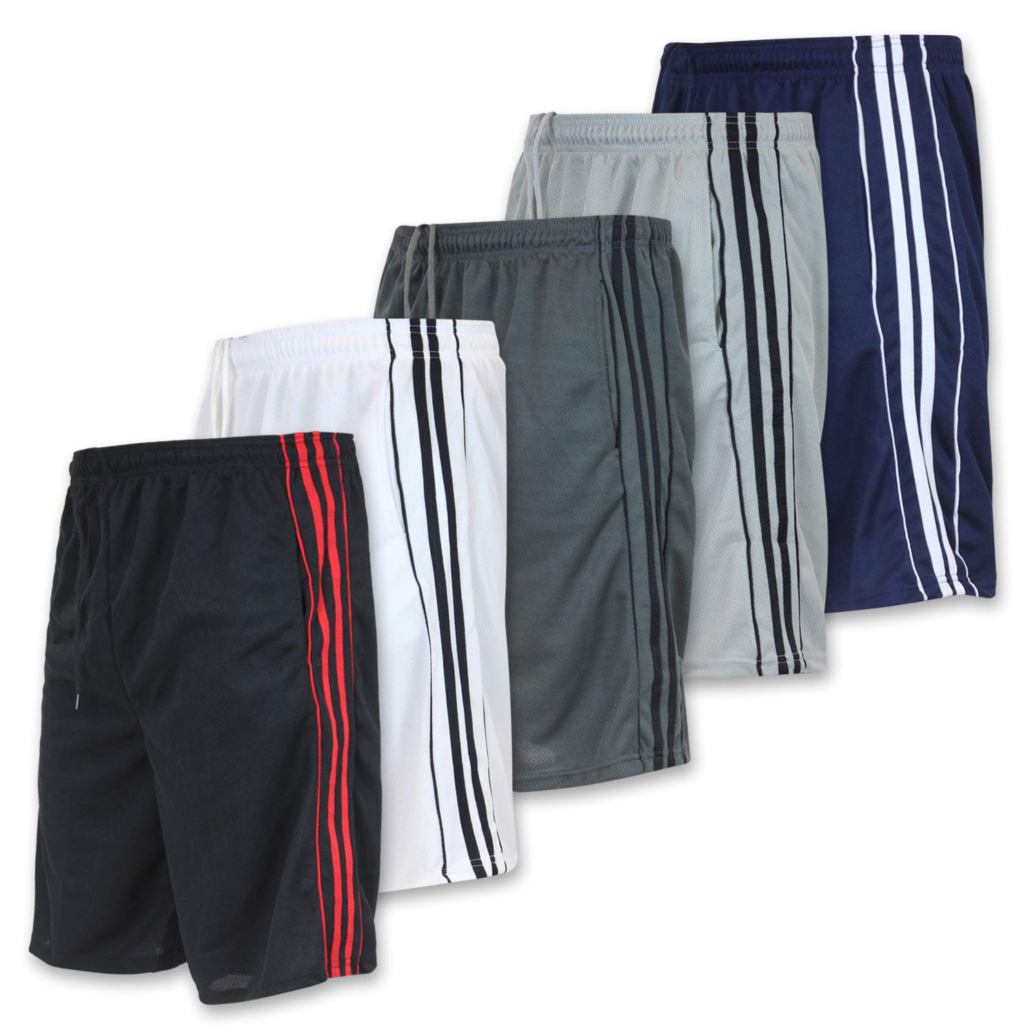 Men's Active Athletic Basketball Essentials Performance Gym Workout Shorts with Pockets - Set 6-5 Pack, S