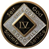 4 Year Black Silver Glitter NA Medallion Official Narcotics Anonymous Chip
