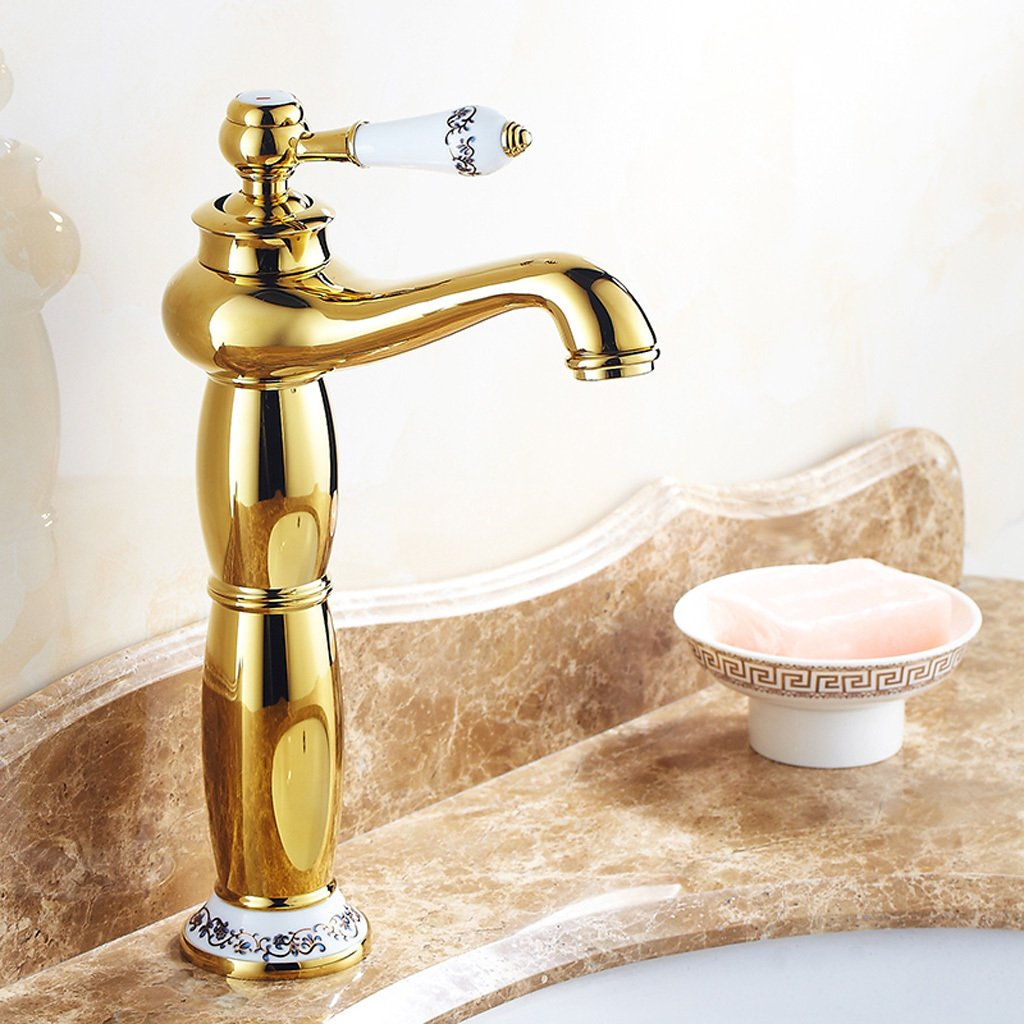 gold-A DLewiee Gilded Antique gold Faucet Hot And Cold Faucet Continental Copper Bathroom Vanities Faucet