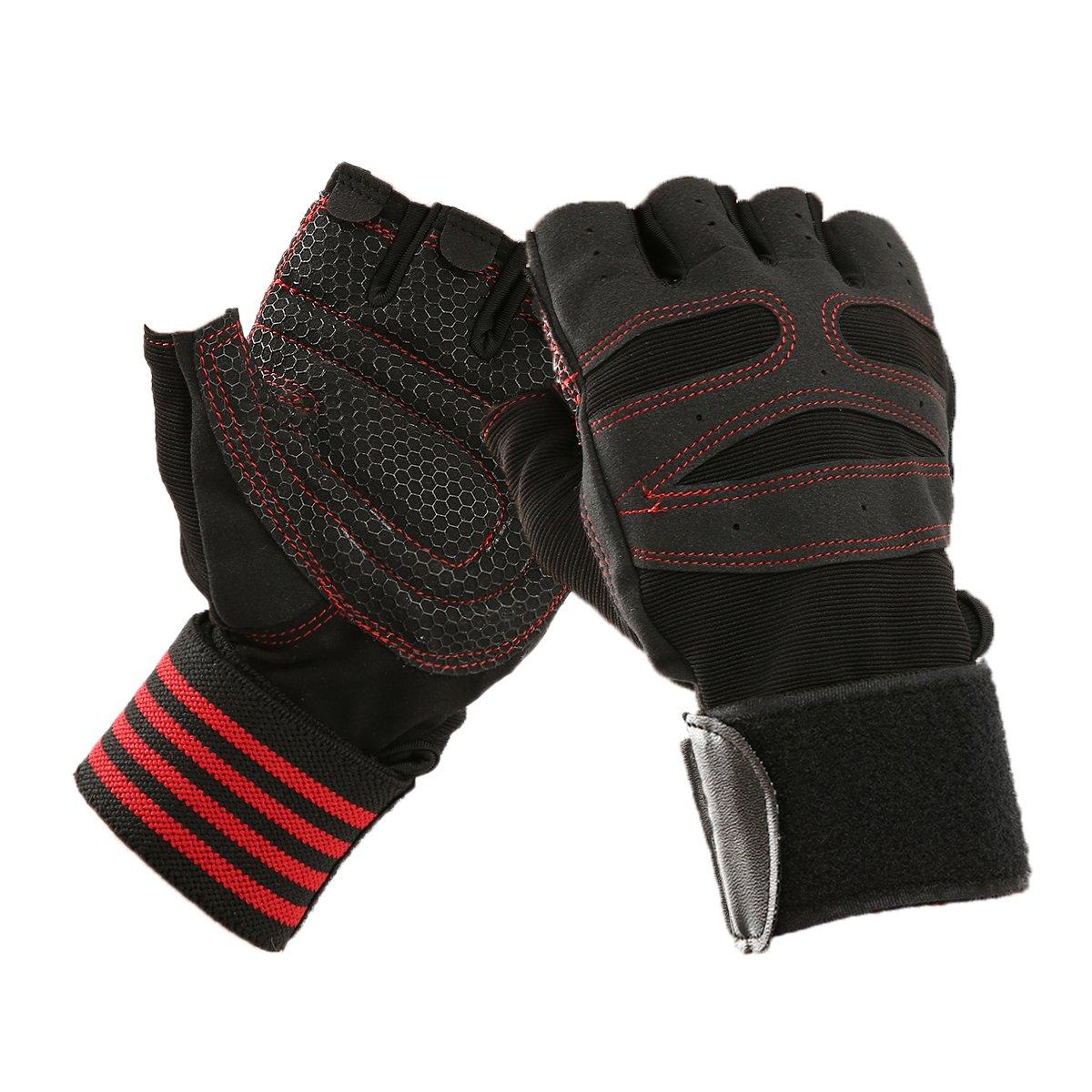 Slimerence sport, traspiranti guanti mezze dita fitness con cinturino supporto regolabile per allenamento bodybuilding powerlifting, per donna e uomo
