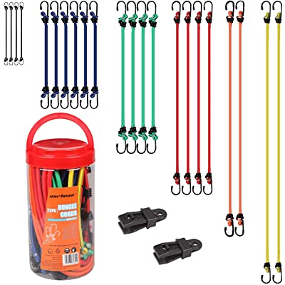 CARTMAN Bungee Cord 22pcs & Clamp 2pcs in Jar