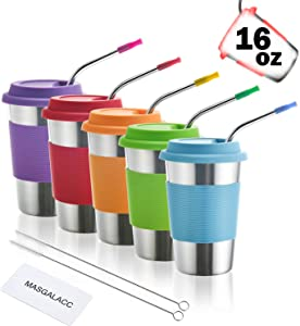 Kids Stainless Steel Cups 16 oz With Silicone Lids & Straw 5 Pack Drinking Tumblers for Adults, Children and Toddlers