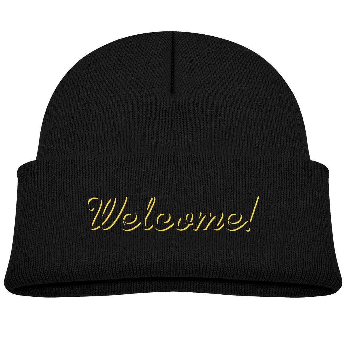 Amazon.com  Kids Knitted Beanies Hat Awesome Welcome Winter Hat Knitted  Skull Cap for Boys Girls Black  Clothing 0aac3d460
