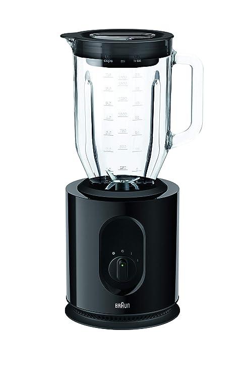 Braun JB5050 Batidora de vaso, Potencia Dual, Vaso thermoresist 2L, 2 Velocidades, Variedad Funciones, Cuchilla triturar extraíble, 900 W, Negro