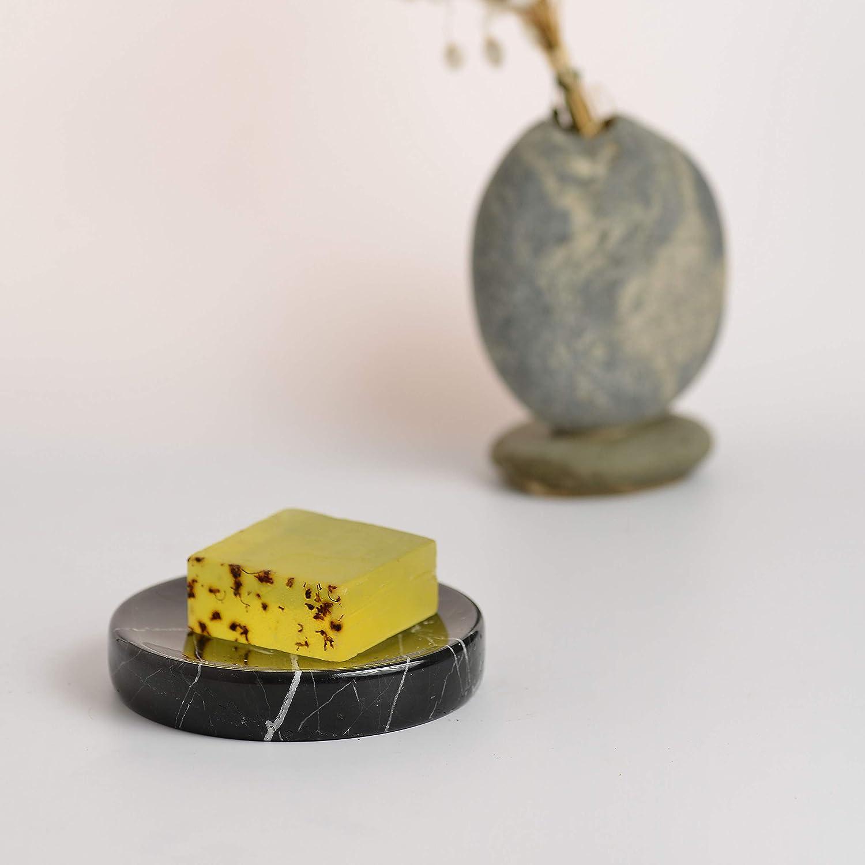 YCD Ziran Distributeur de rouleau de cuisine en acier inoxydable avec base en marbre lest/é Robuste durable et antirouille 30x16x4.5cm Black Hexagon