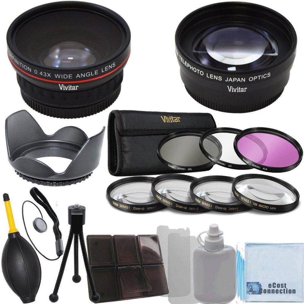 Vivitar 58mm 0.43x 広角レンズ + 2.2x 望遠レンズ + フィルター3枚セット + 接写レンズ4個 + レンズフード デラックスアクセサリーキット付き キヤノン ニコン ペンタックス オリンポス 富士フィルム パナソニック ソニーの58mmレンズマウントの付いたカメラ&カムコーダー用   B00WINE44A