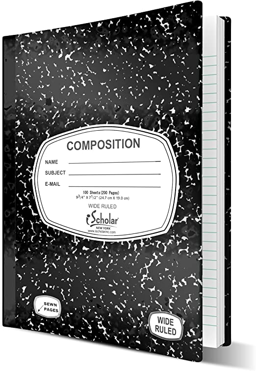 Pack of 2 Emraw Composition Notebook Black /& White Marble Wide Rule Paper Book Journal Hard Cover 100 sheet Perfect for School Office Planning Note Taking and More