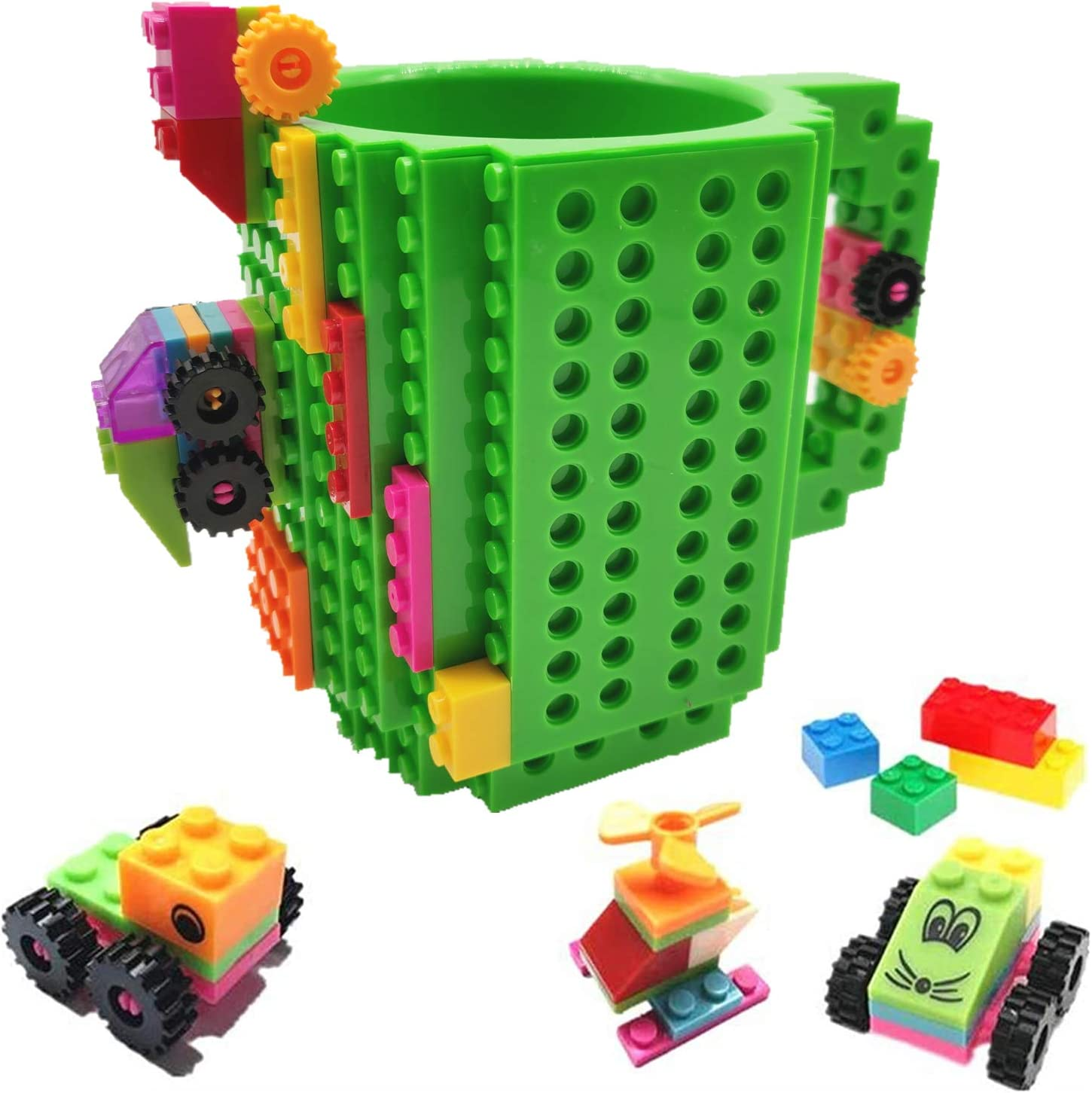 HUISHENG Build-on Brick Mug, Tazas Desayuno, Regalos para Hombres Papá Él Amigos Niños Adulto, Originales Regalo Ideal para Navidad Pascua Dia del Padre Cumpleaños, Compatible con Lego (Verde)
