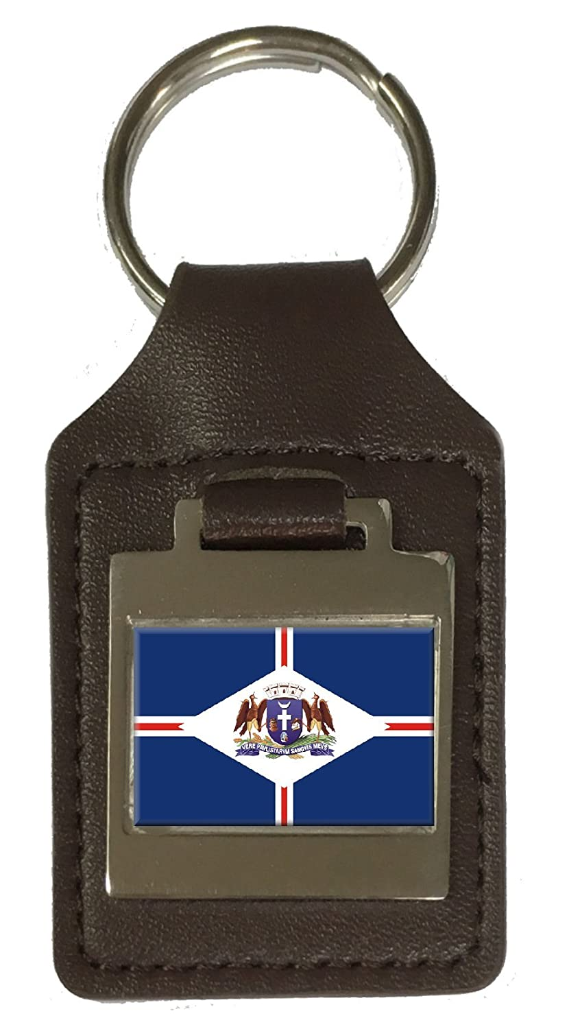 Leather Keyring Engraved Guarulhos City Sao Paulo State Flag