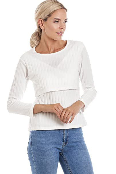 07147f3fb1e9a Central Chic Maternity Breastfeeding Soft Ribbed Jumper in M, L, XL:  Amazon.co.uk: Clothing