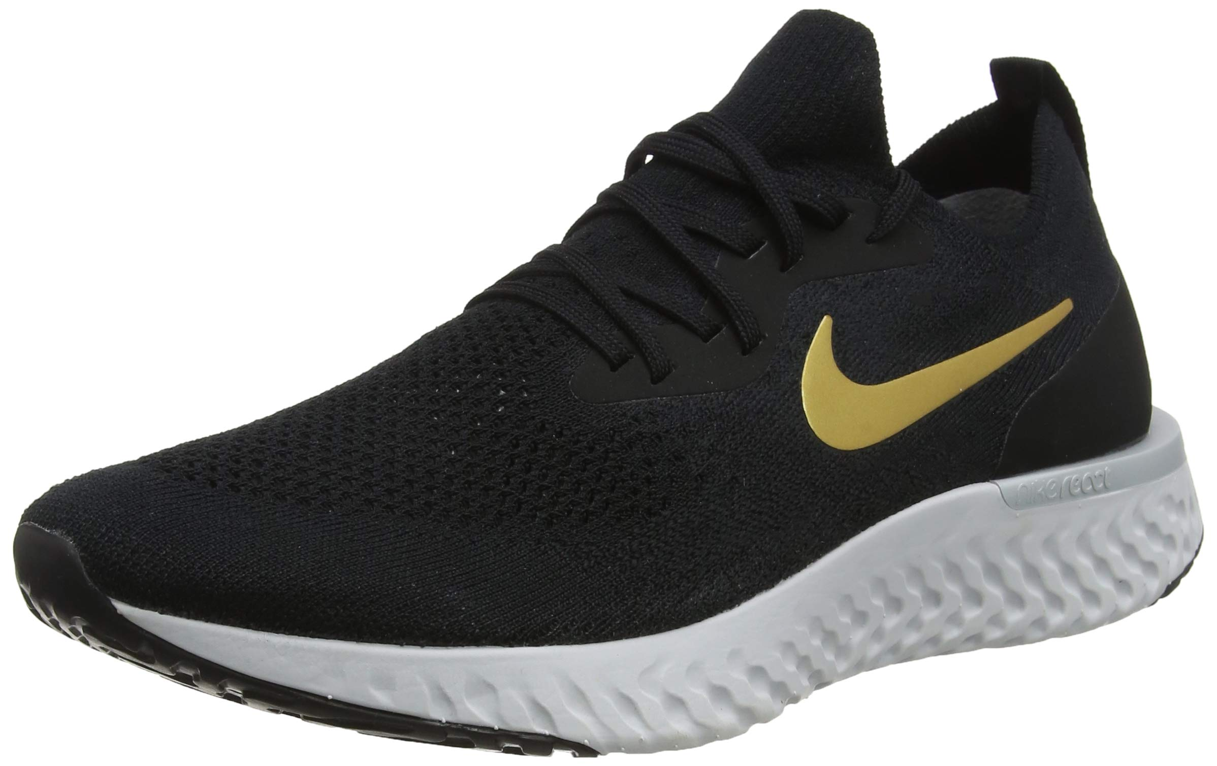 Nike Womens Epic React Flyknit Running Shoes (10) BlackMetallic Gold