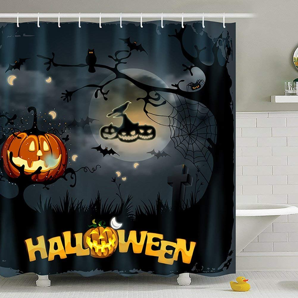 Yomyceo Halloween Scary Ghost Pumpkin Witch Waterproof Antibacterial Polyester Shower Curtains with Hooks Bathroom Home Decorative Night Theme