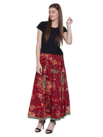 Long Boho Floral Maxi Skirt, Indian Printed Cotton Skirts for Summer Red  Green Large