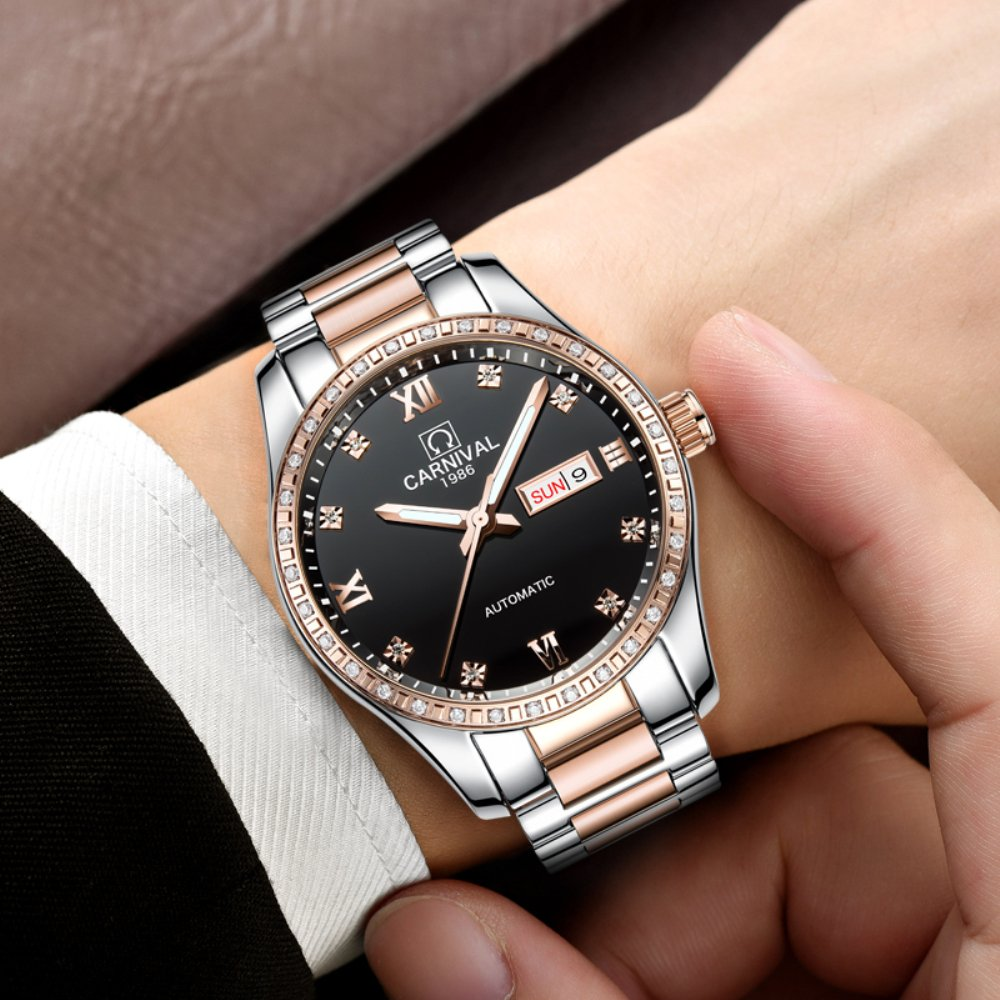 CARNIVAL Couple Watches Men and Women Automatic Mechanical Watch Fashion Chic for Her or His Set of 2 (Rose Gold Black) by Carnival (Image #5)