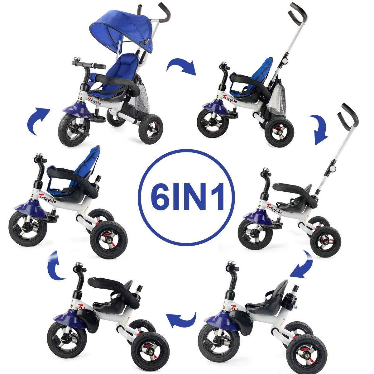 Azul Bicicleta de Aprendizaje para Ni/ños de 1 a/ño a 5 A/ños Cochecito Bebes UBROVOO 6 en 1 Triciclo Bebes Evolutivo Plegable Triciclos Trike