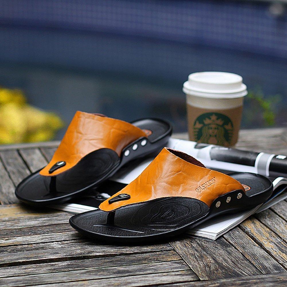 ZJM-Sandale ZJM- Mann-Pantoffel-Sandelholz-Strand beschuht weiches echtes bequemes größe Leder (Farbe : Orange, größe bequemes : 44) Orange a063f1