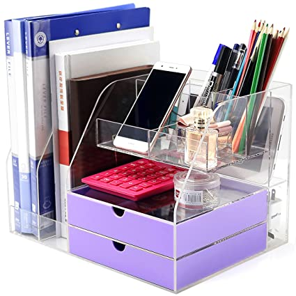 DYCacrlic Desktop Organizer For Home Office Supplies Files Pen And Desk Accessories  Organization,Clear Big