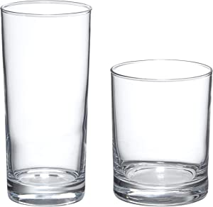 AmazonBasics Admiral 16-Piece Old Fashioned and Coolers Glass Drinkware Set